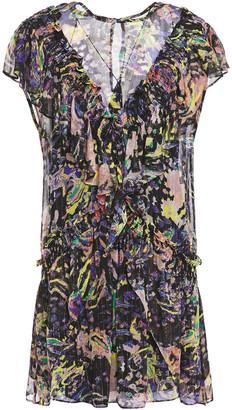 IRO Paodas Wrap-effect Metallic Printed Crepon Mini Dress