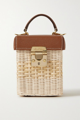 Mark Cross Grace Cube Rattan And Textured-leather Tote - Light brown