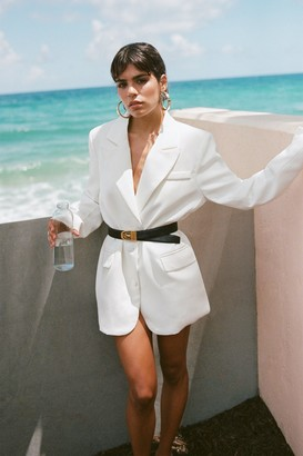 Nasty Gal Womens It's Just Business Longline Blazer - White