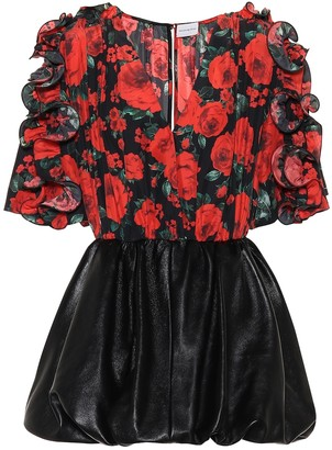 Magda Butrym Lleida floral silk and leather dress