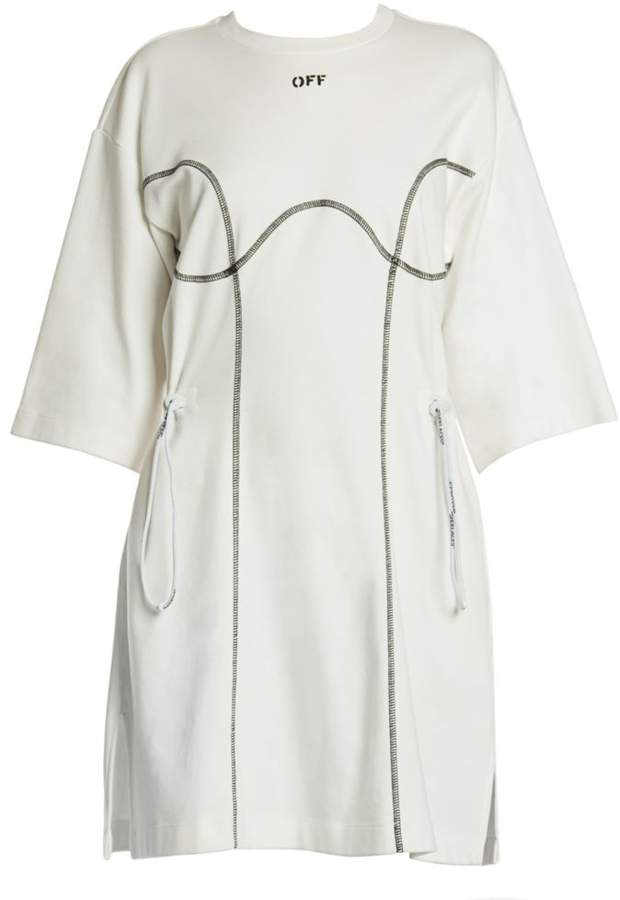 Off-White Off White Coulisse Cotton T-Shirt Dress