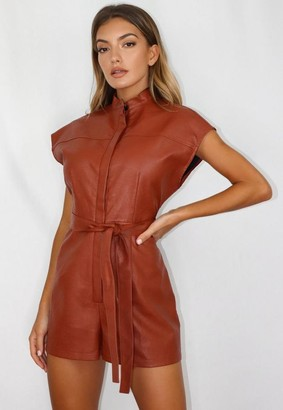 Missguided Rust Faux Leather Utility Romper