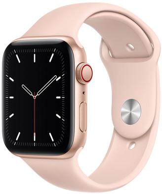 Apple Watch SE GPS + Cellular, 44mm Gold Aluminum Case with Pink Sand Sport Band - Regular