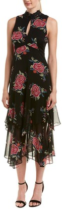 Nanette Lepore Women's la rosa Silk Chiffon Print Sleeveless Dress