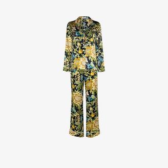 Olivia von Halle Lila Debauchery floral print silk pyjamas