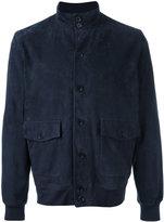 Cruciani button up jacket - men - Cotton/Leather/Spandex/Elastane - 52