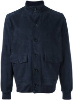 Cruciani button up jacket - men - Cotton/Leather/Spandex/Elastane - 54