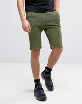 SikSilk Sweat Shorts In Khaki With Reverse Flannel