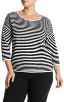 Eileen Fisher Stripe Silk & Organic Cotton Blend Pullover (Plus Size)