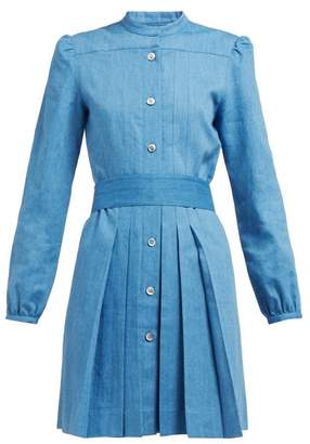 A.P.C. Alba Pleated Denim Dress - Womens - Blue