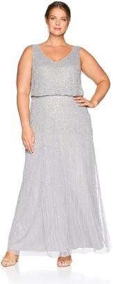 Adrianna Papell Women's Plus Size Allover Beaded Sleeveless Blouson Mermaid Gown