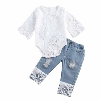 WangsCanis 2Pcs Toddler Baby Boy Clothes Sets Long Sleeve Letter Print Hoodie Sweatshirt Tops Ripped Jeans Outfits Baby Boy Outfits