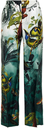 F.R.S For Restless Sleepers Etere Printed Hammered Silk-satin Straight-leg Pants