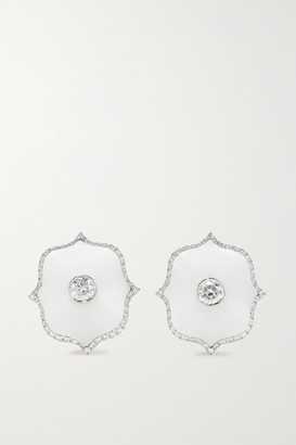 Bayco Platinum, Diamond And Ceramic Earrings - Silver