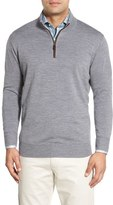 Peter Millar Men's Leather Trim Quarter Zip Pullover Sweater