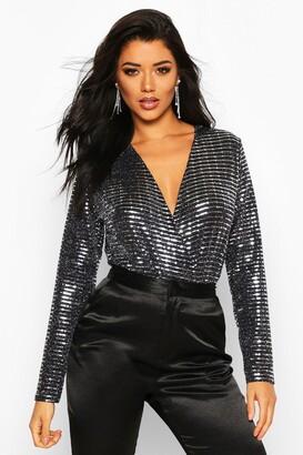 boohoo Metallic Sequin Long Sleeve Wrap Bodysuit
