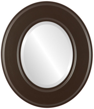 """Marquis Framed Oval Mirror in Stone Brown, 31""""x37"""""""