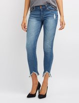 Charlotte Russe Frayed Hem Distressed Skinny Jeans