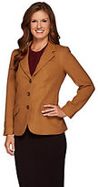 Denim & Co. As Is Button Front Blazer with Faux Leather Collar