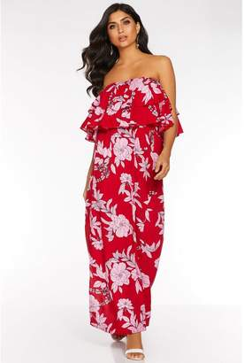 Quiz Red and Pink Floral Print Frill Maxi Dress