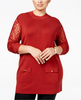 INC International Concepts Plus Size Lace-Sleeve Tunic Sweater, Only at Macy's