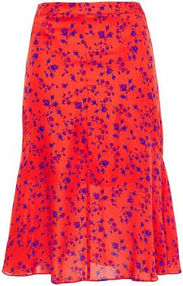 McQ Fluted Floral-print Silk Crepe De Chine Skirt