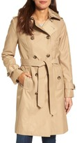 London Fog Women's Hooded Double Breasted Long Trench Coat