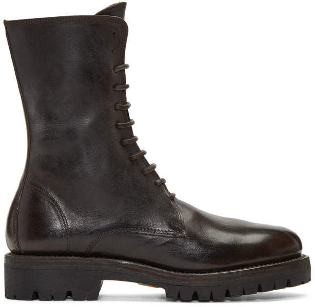Guidi Brown Leather Lace-Up Boots