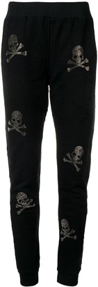 Philipp Plein Skull And Crossbones Embellished Track Pants