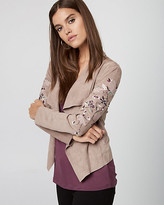 Le Château Embroidered Faux Suede Open-Front Jacket
