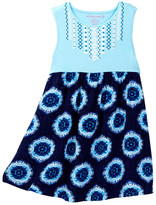 Design History Printed Embroidery Tank Dress (Toddler & Little Girls)