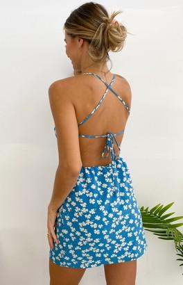 Beginning Boutique Vinnie Mini Dress Blue Floral