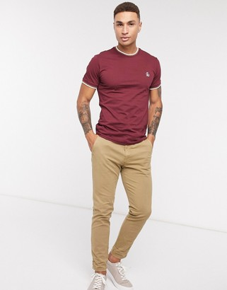 Original Penguin tipped ringer t-shirt in burgundy with small logo