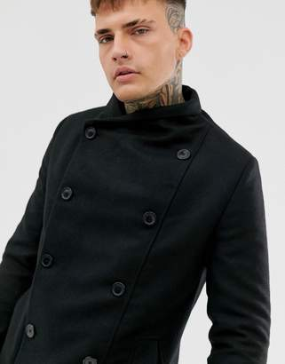 Religion double breasted funnel neck overcoat with pockets in black