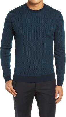 John Smedley Geo Pattern Crewneck Merino Wool Sweater