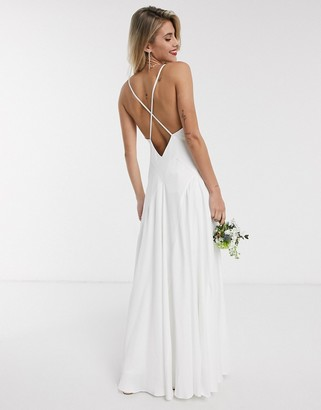 ASOS EDITION Paige satin plunge wedding dress with cross back