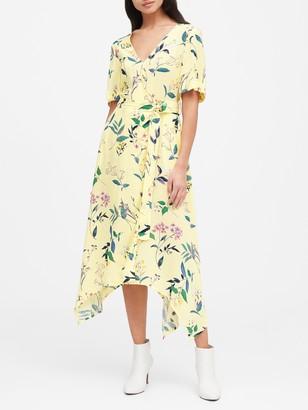 Banana Republic Petite Print Handkerchief-Hem Wrap Dress