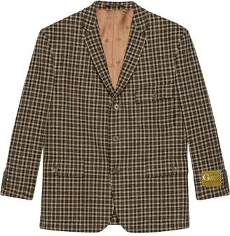 Gucci Check-Pattern Single-Breasted Blazer Jacket