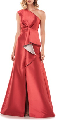 Kay Unger Riley One-Shoulder Ruffle Gown