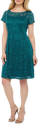Ronni Nicole Short Sleeve Floral Lace A-Line Dress-Petite