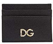 Dolce & Gabbana Women's Crystal-Embellished Logo Leather Card Case