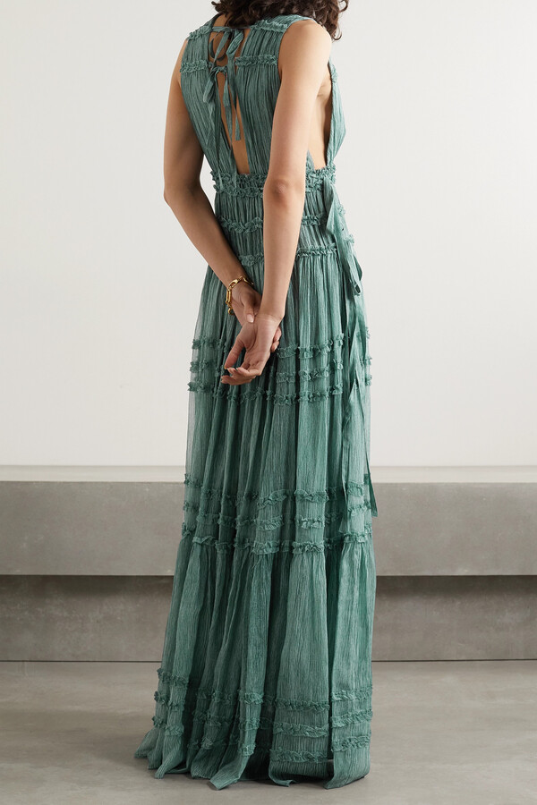 Thumbnail for your product : Ulla Johnson Fiona Tiered Silk-crepon Gown - Blue