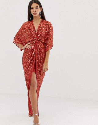 Asos Design DESIGN scatter sequin knot front kimono maxi dress-Brown