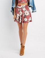 Charlotte Russe Floral Faux Suede Skater Skirt