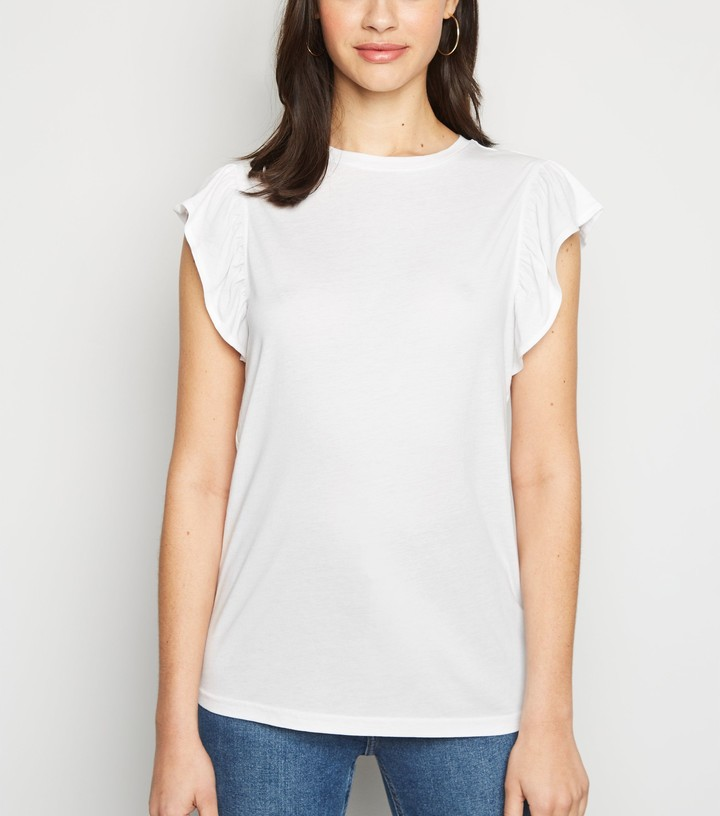 Thumbnail for your product : New Look Frill Trim Cap Sleeve Top