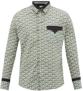 Paco Rabanne Floral-print Cotton-poplin Shirt - Mens - Green