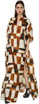 Akris Printed Organza Caftan Dress