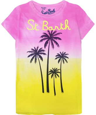 MC2 Saint Barth T-shirts For Women Palm Print With St. Barth Writing