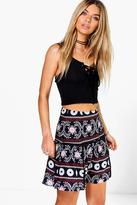 Boohoo Arianna Bohemian Ladder Trim Woven Skater Skirt