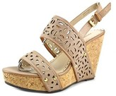 Adrienne Vittadini Countiss Wedge Sandal Women Open Toe Leather Nude Wedge Heel.